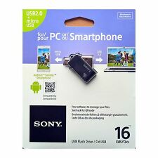 SONY 16GB OTG (On-The-Go) USB 2.0 Flash Drive per Dispositivi Android - Nero
