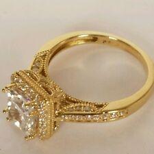 14k real Yellow Gold 1.5 Carat Princess Cut man made Diamon Engagement Ring S 6