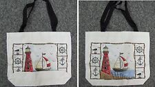 New tote hand book school grocery bag lighthouse sailing ship
