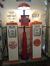 CLASSIC 1930S 1940S 1950S GULF OIL GAS PUMP STATION ISLAND LIGHT WITH TOWEL BOX