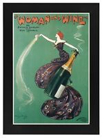 AP111 Vintage 1899 Woman And Wine Theatre Advertisement Framed Poster A3/A4