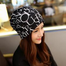 Fashion Unisex Beanie Letters Printed Hat Men Women Cotton Slouchy Cap Scarves