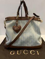 Gucci Valentine 2 Way Denim GG Monogram Leather Bag Crossbody Brown Handbag