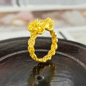Real 24K Yellow Gold Ring For Women 3D Hard Gold Pixiu Coin Gold Ring US 5.5
