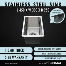 300x450x250 Single Bowl Round Edges Kitchen Sink Butler Laundry Trough Stainless