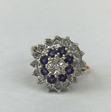 Vintage 9ct Yellow Gold Amethyst & Diamond Cluster Ring 1.6cm Face Size Q 1/2