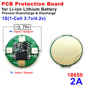 BMS Protection PCB Board 1S 2A 3.7V for Li-ion Lithium LiPo 18650 Battery PCM