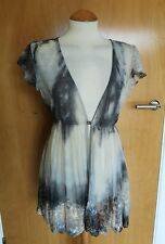 Ladies PER UNA Chiffon Sheer Jacket Size 12 Lace Ombre Smart Party Evening