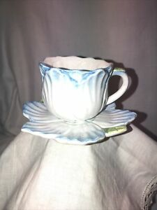 BOMBAY CO Floral Tea Cup & Saucer 1992 Baby Blue Fairy Bridgerton Tea Party