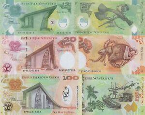 Papua New Guinea 3 Note Set: 2, 20 & 100 Kina (2008) - p35, p36, p37 UNC