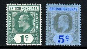 BRITISH HONDURAS KE VII 1904-07 1c. & 5c. Wmk Mult Crown CA SG 84 & SG 86 MINT