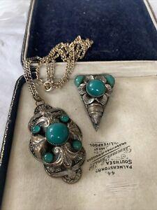 Lovely Art Deco CZECH Jewellery Dress Clip & Necklace Set