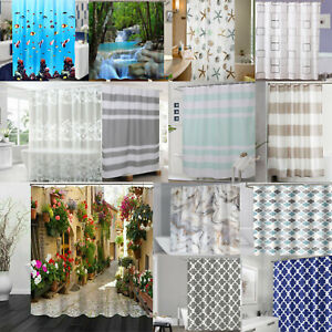 3D Pattern Design Shower Curtains Bathroom Waterproof Extra Long Wide with Hooks