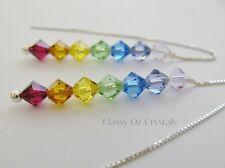 Chakra Ear Threads Threader Earrings made with Swarovski & Sterling Silver