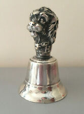 Ancienne sonnette cloche de table en métal argenté chien Tom bell