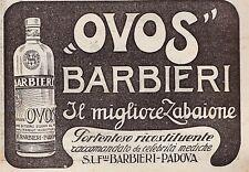 PUBBLICITA'1921 ZABAIONE OVOS BARBIERI PADOVA LIQUORE RICOSTITUENTE VOV MEDICINA