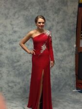 955340311f7 Jovani Red One Sleeve Pageant Prom Dress EUC