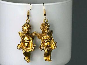 GOLD CHERUB EARRINGS angel kawaii disco cool gold plated celestial kitsch