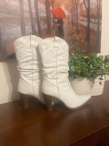 Aldo White Womens Cowboy Calf Boots
