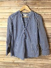 BANANA REPUBLIC Women's Long Sleeve Button Front Blouse Top SIZE XS Blue Plaid