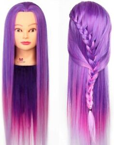 Neverland 26 inches Hair Styling Training Hairdressing Manikin Doll Head Purple