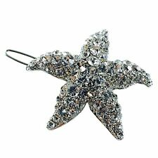 Hair Clip use Swarovski Crystal Hairpin Starfish Seastar Mermaid Silver Elegant