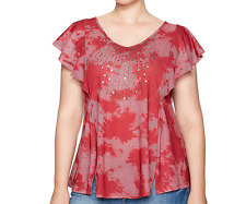 One World Women's Red Flutter Sleeve Star Studded Tie Dye Top Shirt Plus Sz 2x