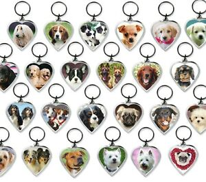 Dog Keyrings Heart Shape Pug Chihuahua Spaniel Bulldog Westie Retriever Choose