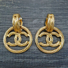 CHANEL Gold Plated CC Logos Charm Vintage Swing Earrings #5610a Rise-on