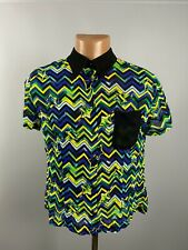 Gianni Versace Versus VTG Men's Designer Zig Zag Viscose Button Shirt Sz 34 / 48