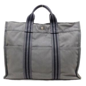 HERMES Handbag logo canvas gray