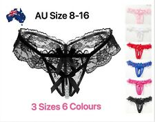 Sexy Crotchless Pearl Lace Thongs Briefs Panties G-strings Lingerie Plus Sz 8-16