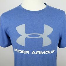 Under Armour Mens Stretch Polyester Loose Fit Heat Gear Ss Blue T Shirt Small