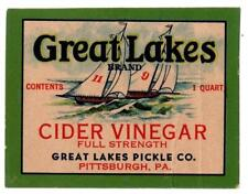 Vintage Can Label Great Lakes Cider Vinegar  Pittsburgh, PA