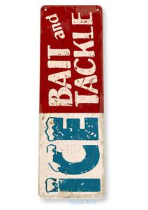 Ice, Bait, Ammo, Tackle, Fish Shop, Tin Sign D088