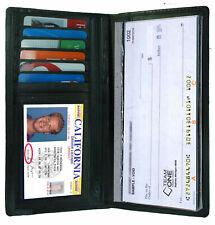 Black Leather Checkbook Cover Organizer Wallet Zip Card ID Holder Men Women