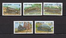 VIETNAM DU NORD 1983  5 timbres oblitérés locomotives /T4067