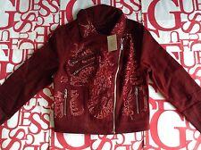 Guess Women's Moto Zip Denim Jacket In Red Size S