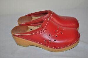 Troentorp Bastad Original Swedish Red Cutout Leather Clogs Size 5.5/Euro 36