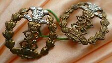 Middlesex Regiment Collar Badge Bi-Metal Lugs ANTIQUE Original- PAIR