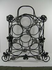 Wrought Iron Black Metal Wine Rack 6 Bottle Holder with Metal Leaves and Grapes