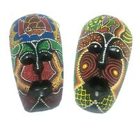 Turtle Fish Wooden Mask African Tribal Wall Hanging Decore Hand Carved 2 pcs