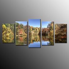 FRAMED Canvas Art Wall Decor Lake Painting Print Poster Picture for Kitchen 5pcs