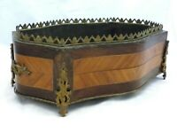 19th LARGE French Marquetry Wood Inlaid Jardiniere Planter Brass Handles Antique