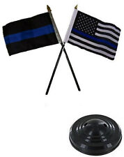 "Thin Blue Line & USA Police American 4""x6"" Flag Desk Set Table Stick Black Base"
