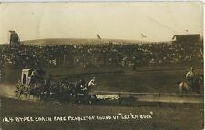 "Postcard, Stage Coach Race Pendleton Round Up ""Let 'er buck"", Ore., Circa: 1937"