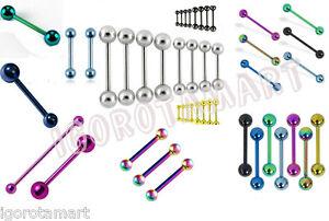 1X Solid Titanium Straight Barbell Tongue Nipple Ring Body Piercing Bar