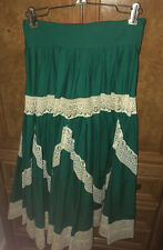 """Vintage Mexican Green with Lace circle skirt S 24"""" waist cotton 1950"""