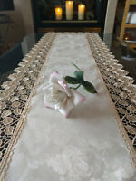 "Dresser Scarf Table Runner Doily Rose Lace Jacquard Champagne Color 54"" x 16"""