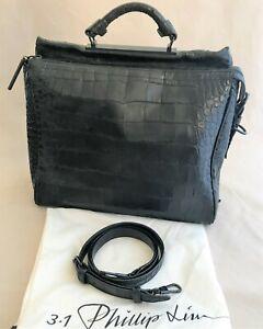Authentic 3.1 PHILLIP LIM Croc Embossed Large Leather Ryder Black Satchel Bag